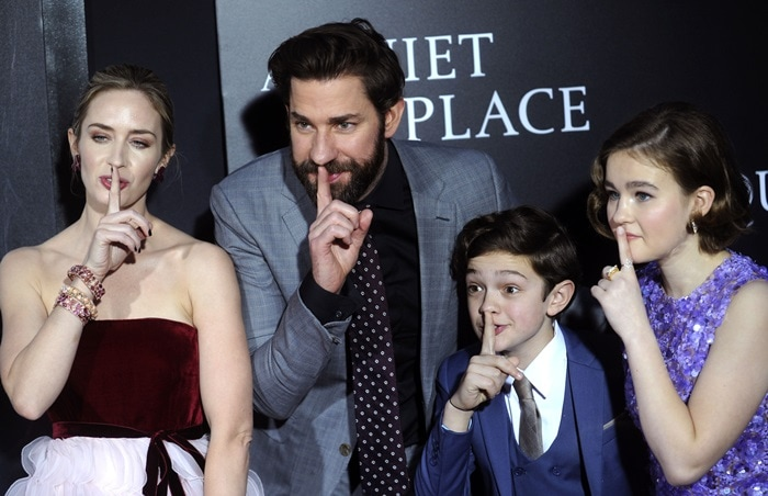 Emily Blunt and John Krasinski Quiet Place Cast be quiet